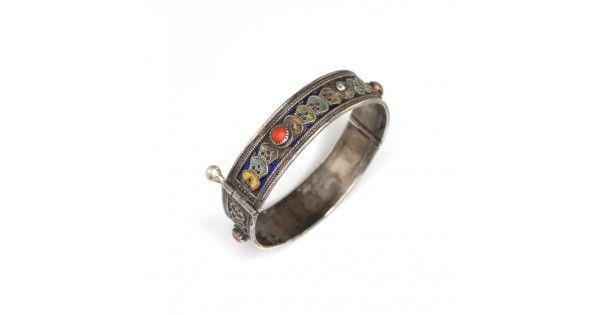 Veche brățară tribală Kabyle | argint, coral & email | Algeria cca.1900