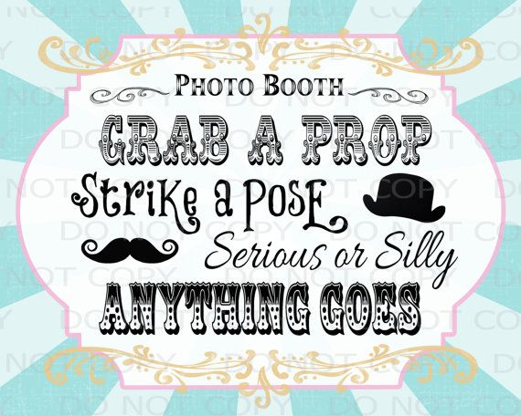 Printable DIY Vintage Circus Photo Booth Prop by onelovedesignsllc