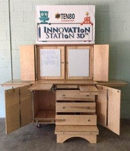 Check out this beautiful, multi-functional, mobile maker station.  Great for larger makerspaces and mini mobile makerspaces.