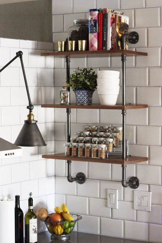 wood and plumbing-pipe shelving unit that could become your next kitchen DIY project - Shelterness