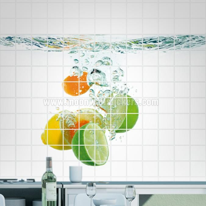 Fruit Under Water Tile Murals - If you are the kind of person that are looking for a piece of art in your Kitchen Tile Wall or Bathroom Tile Wall apply this Fruit Under Water Tile Murals is the perfect choice. #Tiles #Murals #Decals #Covers #Photos #Stickers #Fruit #Water