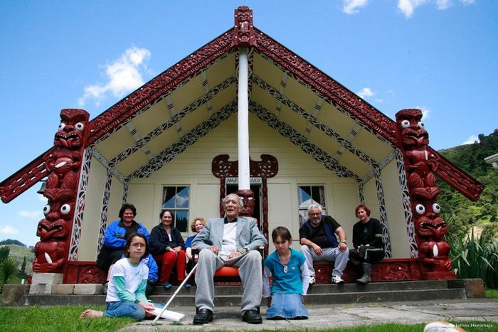 The marae (meeting grounds) forms the focal point of a Maori village. Haere mai! (Welcome)