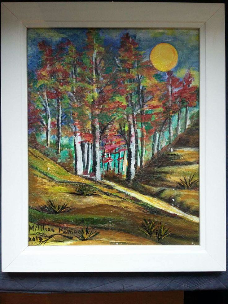 Luna plina(30€) Tablou pictat pe panza Dimensiuni 35/30 cm Disponibil