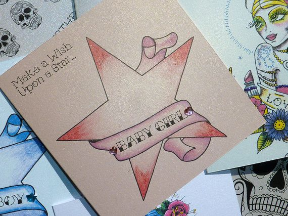 Wish Upon a Star New Baby Girl Tattoo Style by VickiliciousDesigns, £2.80