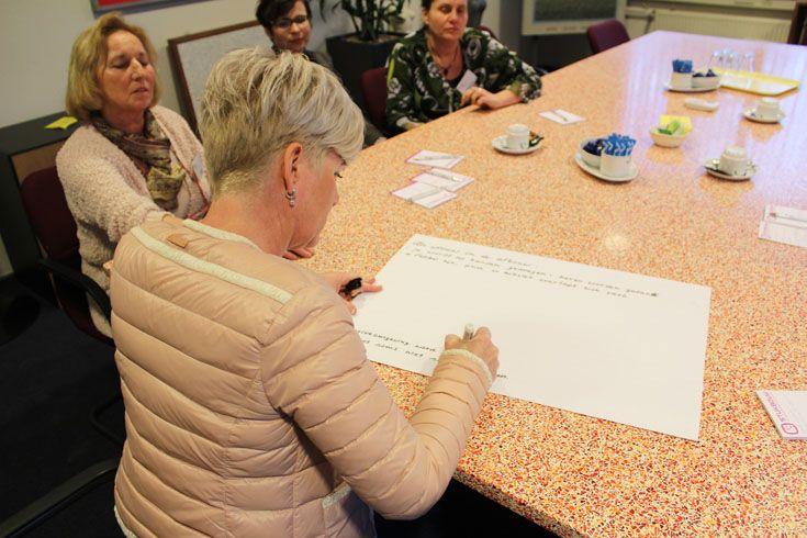 Elke discussiegroep maakte een taakverdeling om de discussie te leiden, conclusies te beschrijven en de bevindingen te presenteren.