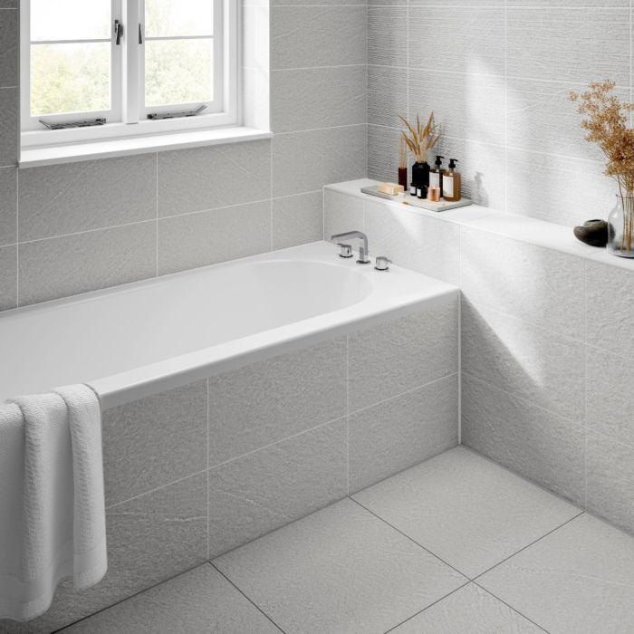 Ingleton White Matt 250x500mm Ceramic Structured Decor Verona Group White Tile Floor White Decor White Tile Bathroom Walls