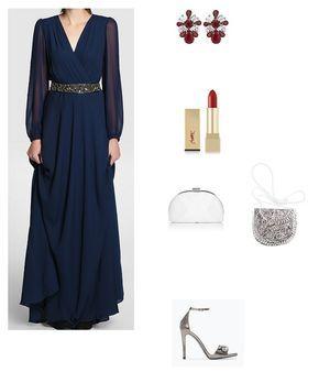 look boda vestido largo azul marino