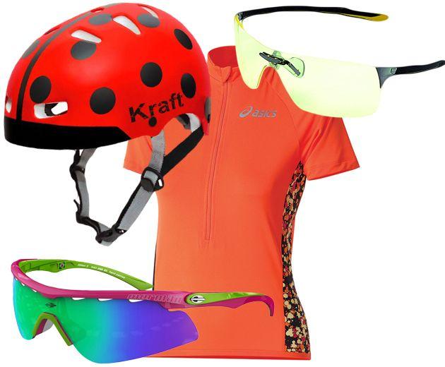 Bike: capacete de joaninha da Kraft (R$ 78), camiseta Asics (R$ 139,90), óculos Night Vision da Tag Heuer, com lentes que reduzem os reflexos de luz (R$ 1.650), óculos e o Athlon, da Mormaii (R$ 389)
