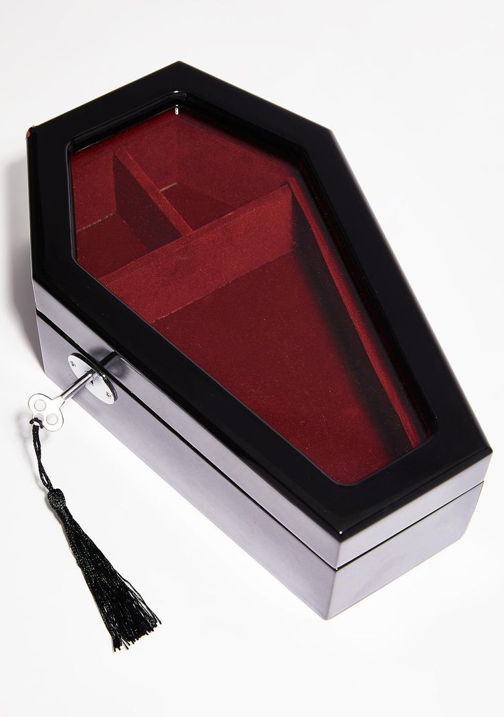 Killstar Casket Case Jewellry Box cuz you keep it vampy. Treasure your jewelz in this pretty coffin shaped trinket box that has a clear window, blood red velvet interior, and a lock N' key.