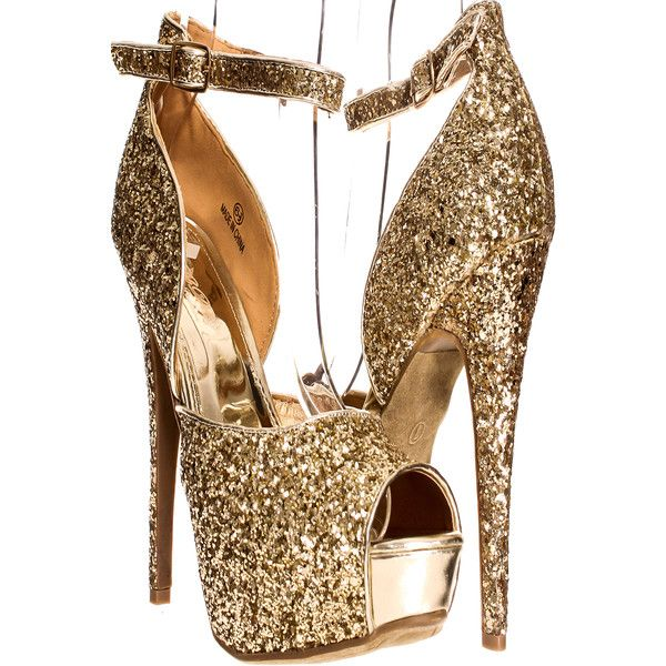 Gold open toe strap glitter accent platform high heels ($11) ❤ liked on Polyvore featuring shoes, pumps, heels, gold, strappy pumps, high heeled footwear, mid-heel pumps, gold glitter pumps and high heel pumps
