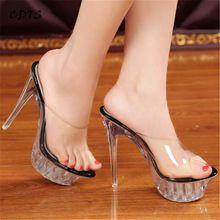 Crossdresser zapatos Women Pumps Party Sandals 2017 Summer transparent Platforms slippers Elegant 14cm Thin Heels Ladies Shoes