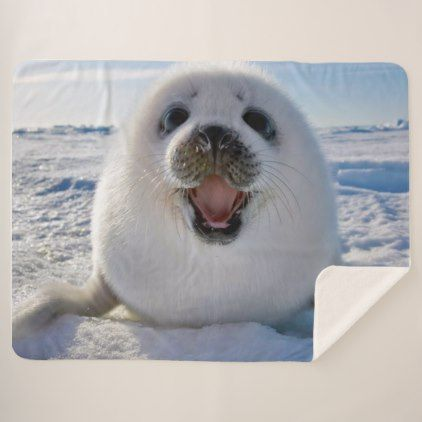 Baby Harp Seal Sherpa Blanket - baby gifts child new born gift idea diy cyo special unique design