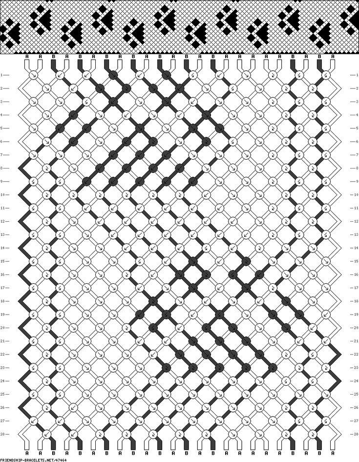 Friendship bracelet - pattern 47464  - 24 strings 2 colours - paw prints