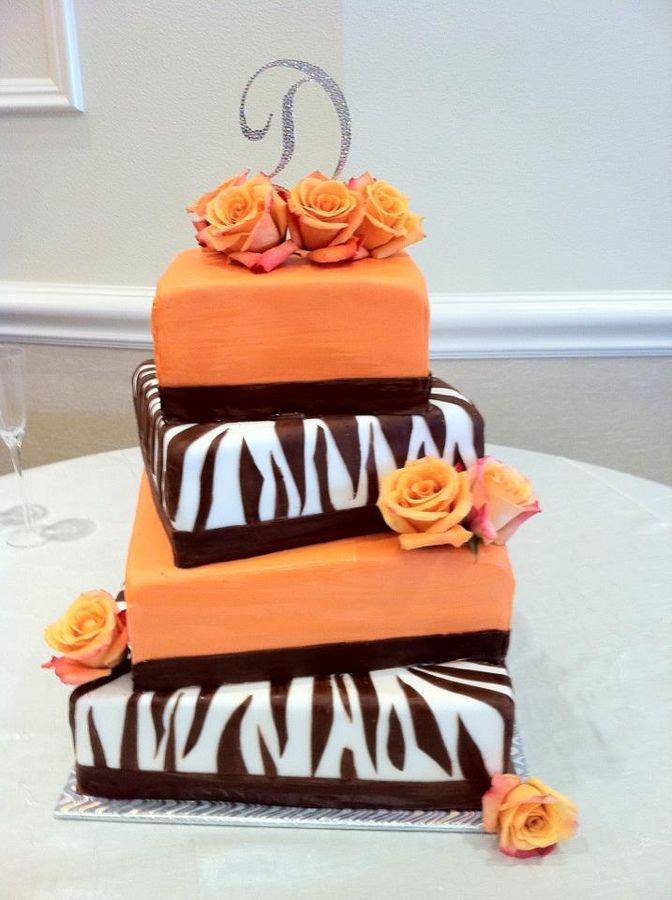 teared zebra stripped cakes | ... Chocolate Brown Zebra Fondant Wedding Cake — Square Wedding Cakes