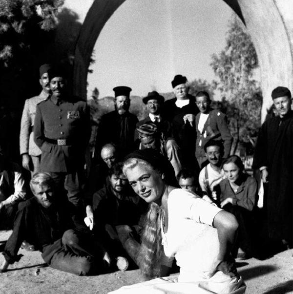 """Agios Nikolaos, Kritsa, 1960s, Melina Mercouri stars at Jules Dassin's film """"He Who Must Die"""" (Celui qui doit mourir, 1957) based on the novel of Nikos Kazantzakis, photography: Dimitris Papadimos"""
