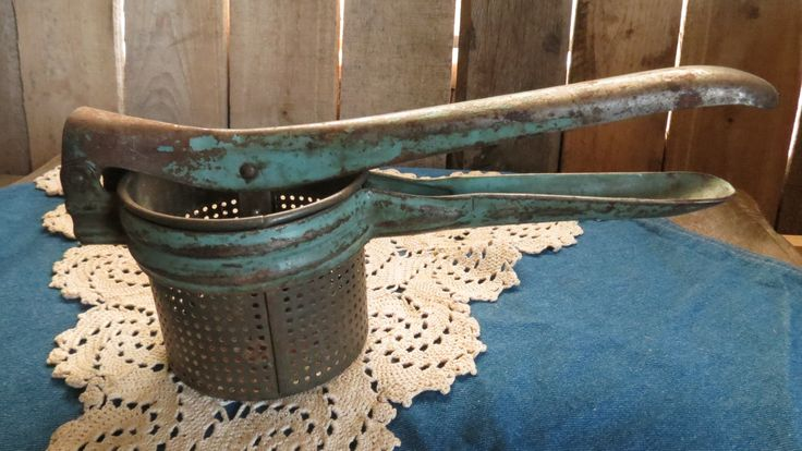 Vintage, Rustic, Potato Ricer With Blue Handle by RileysVintageRelics on Etsy