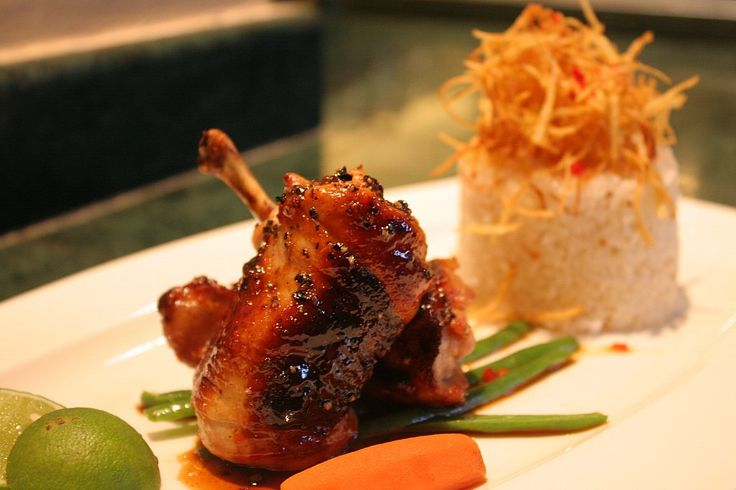 Sweet Spicy Pigeon served with Jasmine Rice and Potato Crispy #HyattRegencyYogya