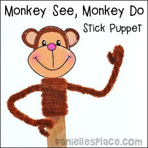 Monkey See, Monkey Do Stick Puppet Craft for Children
