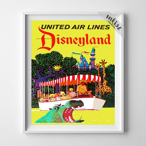 Vintage Walt Disney, Disneyland Poster, United Air Lines, Fantasyland, Baby Shower Gift, Nursery Art Gift, Tomorrowland. PRICES FROM $9.95. CLICK PHOTO FOR DETAILS. #nursery #disneyland, disney #babyroom #inkistprints, homedecor, wallart, walldecor, decoration, gift, giftforhim, dorm, poster, print, babygift
