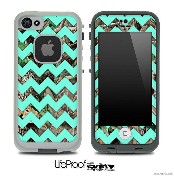 Camo & Trendy Green Chevron V3 Print Skin for the iPhone 4/4s or 5 LifeProof Case
