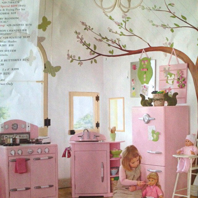 Tree mural from Pottery Barn Kids retro kitchen image