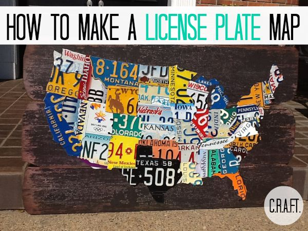 How to make a license plate map - What a Great idea for someone who travels a lot! So Cute!