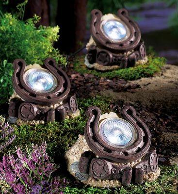 Set Of 3 Decorative Horseshoe Solar Path Lights