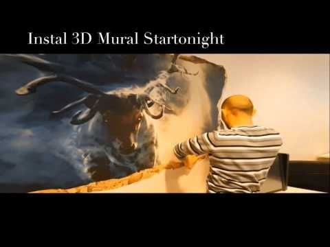 How to Instal 3DMURAL009 Startonight 3D Mural Wall Art Window Moon on th...