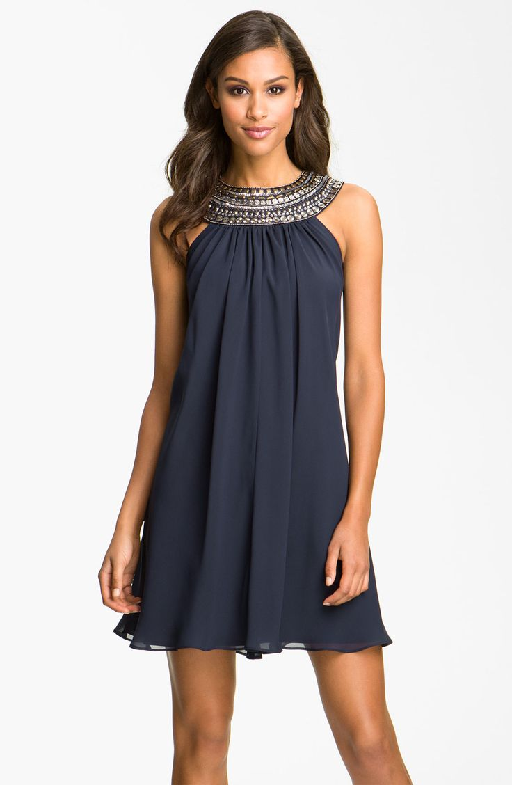 JS Boutique Embellished Chiffon Trapeze Dress | Nordstrom