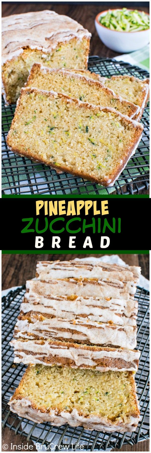 Pineapple Zucchini Bread - shredded pineapple and a pineapple glaze gives this sweet bread recipe a great tropical flavor!! It's a family favorite!