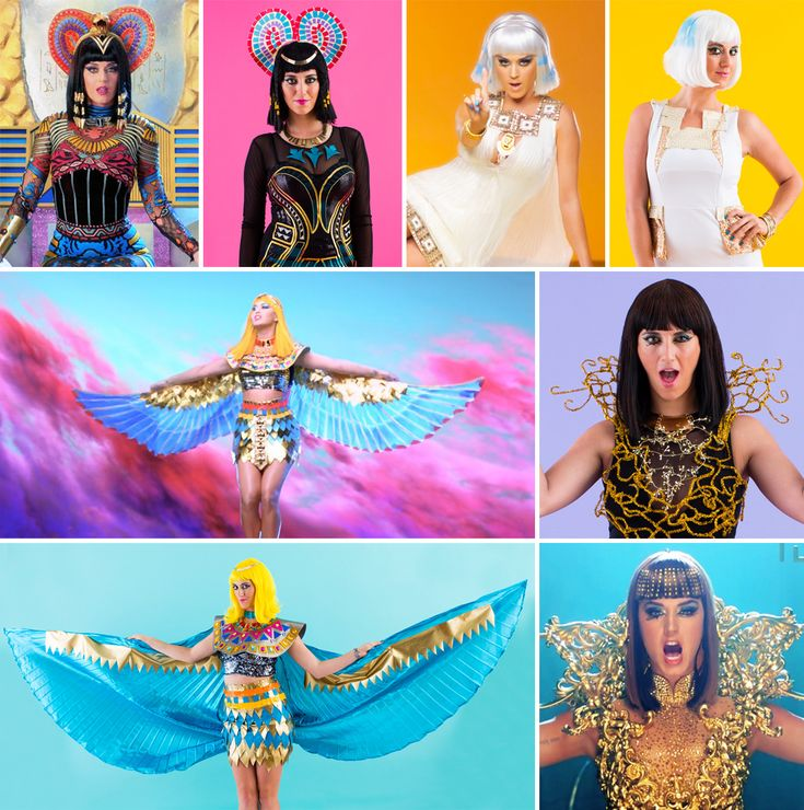 "Bookmark this tutorial to DIY all of Katy Perry's ""Dark Horse"" music video costumes for Halloween."