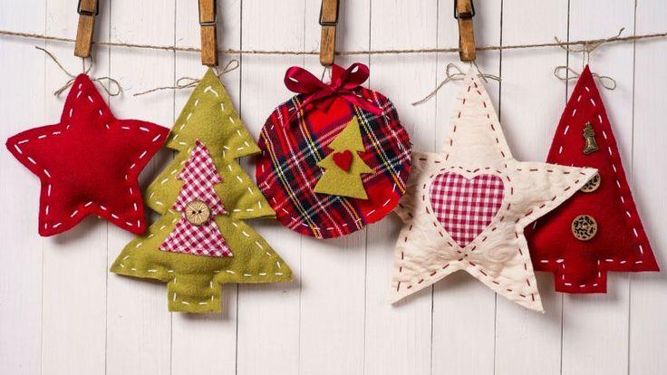 Adornos de tela navideños                                                                                                                                                      Más