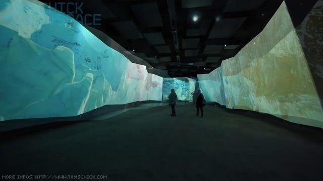 Mesmerizing video installation by Tamschick Media. The five-minute 360° audiovisual show was created in the middle of Europe's highest cave, at about 3,500 metres above sea level. It dramatises the overwhelming majesty and fragile beauty of glaciers. In an immersive performance the visitor experiences a panorama of the Alps projected on crystalline walls.