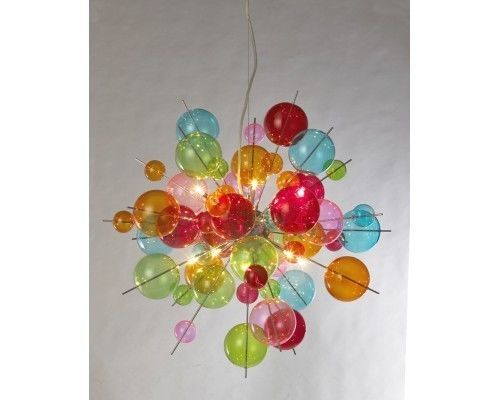 10 Lamp Sputnik Ball Chandelier, Multicoloured or Chrome Finish