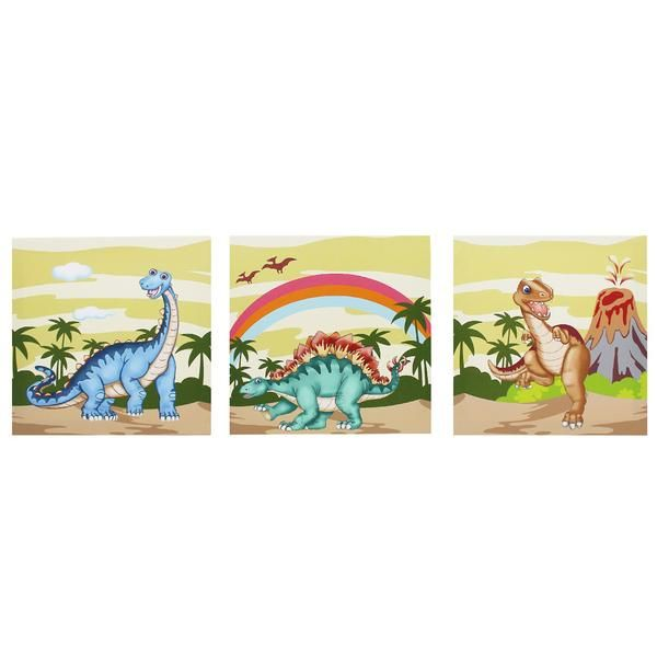 Hang prehistoric history on the walls of your child‰۪s nursery. Bright, vivid images of dinosaurs roaming around makes for the perfect display piece for your nu