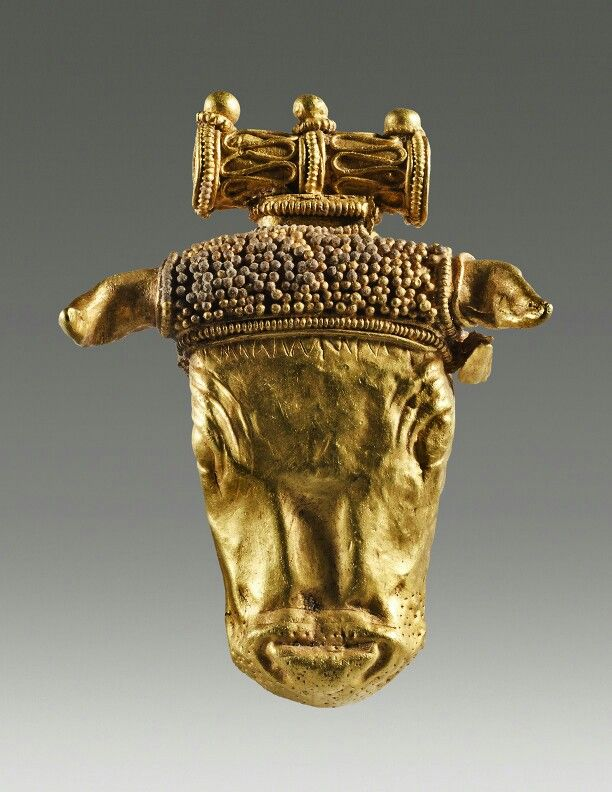 Gold pendant in the shape of a bull's head. Greek. Late 4th century B.C. | Phoenix Ancient Art Gallery