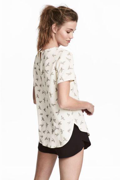 fd76ec7916393 Blusa de manga corta - Blanco natural Pájaros - MUJER
