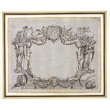 This is a design for an engraved card from about 1750. The card may have been used as an invitation, a bond or a certificate. It would depend on the inscription printed within the cartouche. We do not know who the artist was, but the design is typical of the 'Rococo' style popular at the time. The presence of the ancient Roman goddesses Ceres and Pomona, together with the bales of corn, barrels, fruit and flowers, suggest that the person who ordered the card was connected to agricultural…