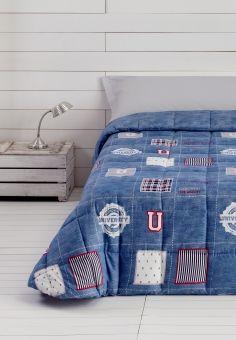 Edredón Comforter University, reversible en color azul, de Barceló Hogar.  #barcelohogar, #barcelo, #fundanórdica,  #duvet, #comforter, #edredones, #dormitorio, #casa, #textilhogar, #camas, #ropa, #decor, #otoñoinvierno2016, #edredonreversible, #invierno, #hogares