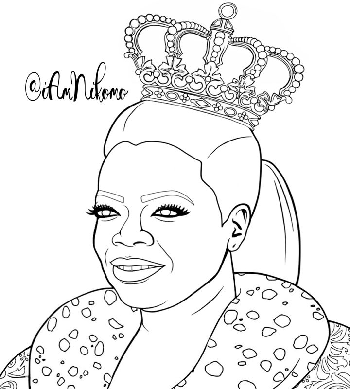 queen oprah winfrey from the queens of black hollywood coloring book