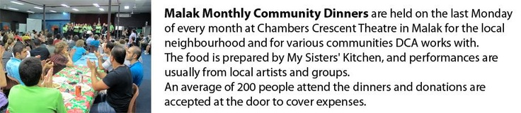 Monthly community dinners at the Malak Theatre bring people together to enjoy local entertainment and a free meal.