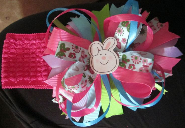 Easter Ribbon headband (can change up the middle picture as well as ribbon colours)