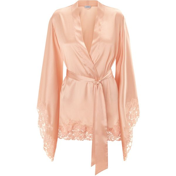 La Perla Azalea Peach Short Kimono Robe in Stretch Silk Satin and... (8005 MAD) ❤ liked on Polyvore featuring intimates, robes, short satin robe, satin robe, satin dressing gown, bath robes and short kimono robe