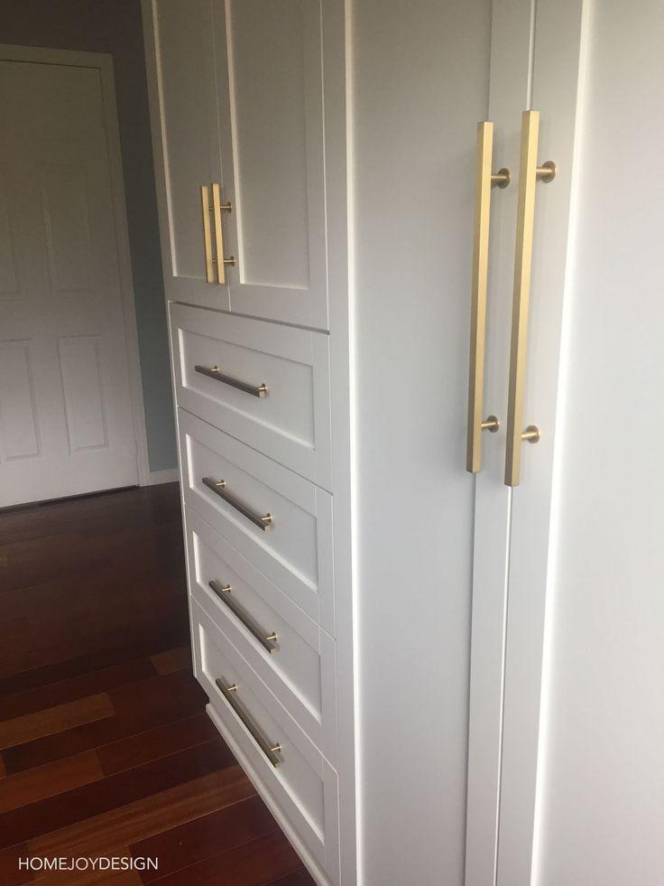 Brass cabinet hardware on White Closet Wardrobe — HOME JOY DESIGN