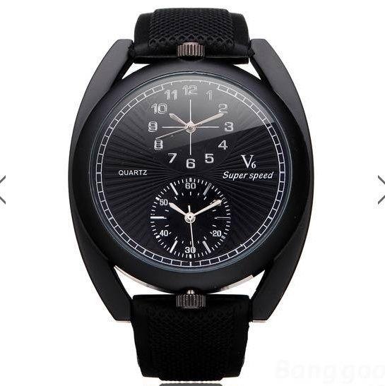 V6 Super Speed Big Dial Number Rubber Men Wrist Watch #V6 #Fashion