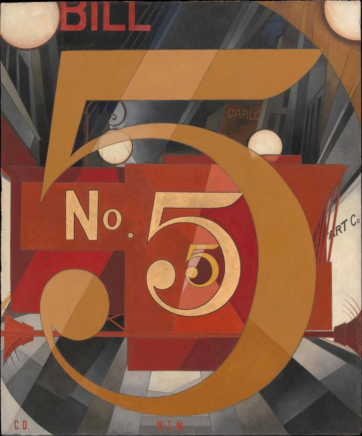 """I Saw the Figure 5 in Gold Charles Demuth 1928  Without its backstory this painting likely doesn't make much sense. However knowing that it is a tribute to the artist's friend poet William Carlos Williams and is inspired by his poem """"The Great Figure"""" gives meaning to its stylized and abstract images. The title of the painting is derived from Williams' one sentence poem which evokes the sights and sounds of a red fire truck emblazoned with a gold number five speeding down a city street at…"""