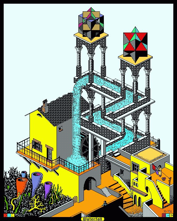 Redrawn and colored version of M. C. Esher's lithograph WATERFALL  THE MUSEUM OF UNWORKABLE DEVICES