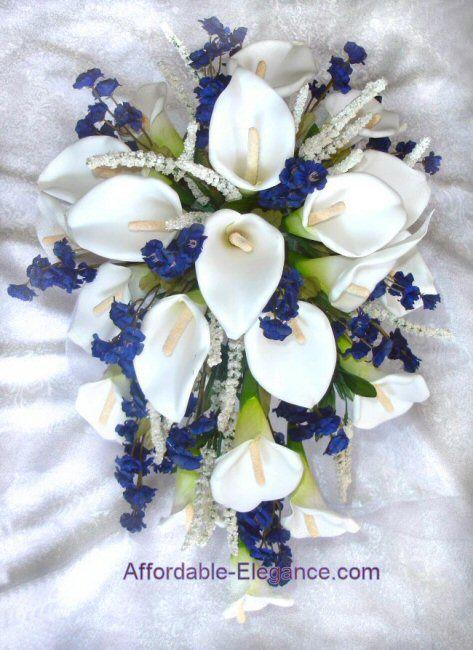 Blue+Silk+Flowers+for+Weddings | ... Blue White Calla Lily Lilies Cascade Bouquet Silk Wedding Flowers