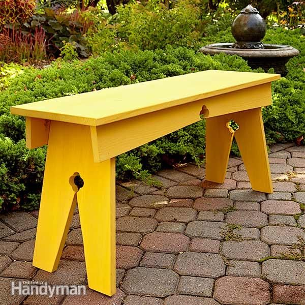DIY Bench, North Woods Style: Build this inexpensive, DIY-friendly wooden bench with just a few pine boards. With classic cloverleaf details, it's perfect for a garden or cabin. http://www.familyhandyman.com/woodworking/projects/diy-bench-north-woods-style/view-all