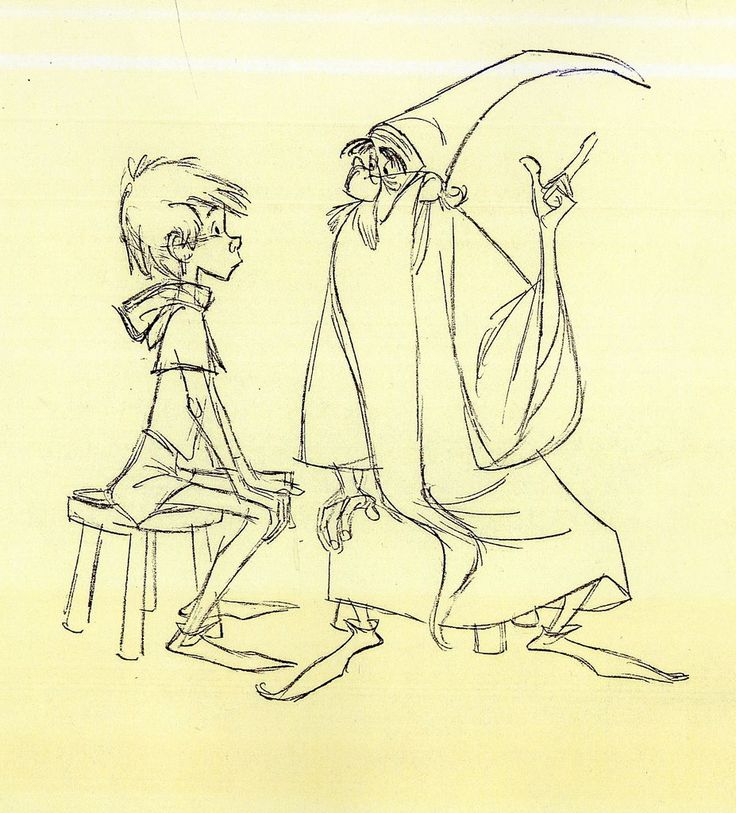The teacher and the apprentice  Original sketches for The Sword in the Stone